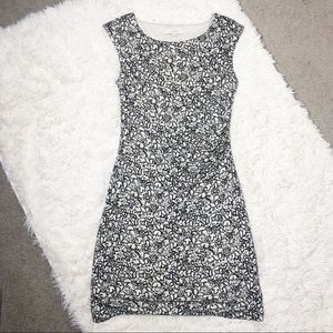 Loft Sleeveless Black and White Floral Dress M
